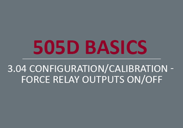 Configuration/Calibration - Force Relay Outputs On/Off