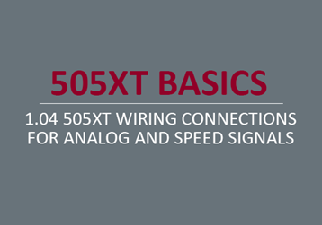 505XT Wiring Connections for Analog and Speed Signals